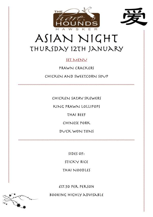 1st theme night of 2017 announced- Asian Night