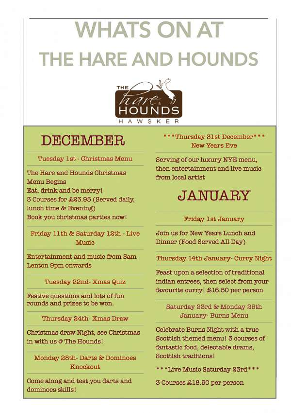 See whats happening @ The Hare and Hounds in January